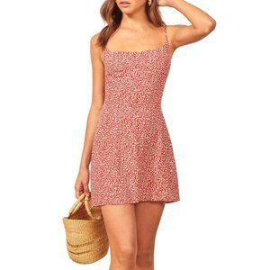 Reformation Yasmin Red Mini Scribble Dress Size 4